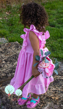 Pink Ruffle Pinafore Dress with a twirl skirt and Ruffle hemline custom hand made by Ruth Sewing Room