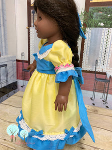 "Nutcracker Ballerina Clara Dress, Lemon Yellow and Tropic Blue Poly Silk DUPIONI, 18"" America Girl Dress"