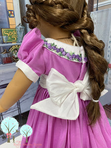 "Southern Bell in Lavender and White  Poly Silk DUPIONI, 18"" America Girl Dress"