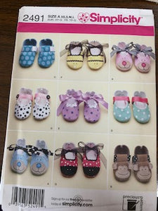 Simplicity Pattern 2491 infant shoes sizes