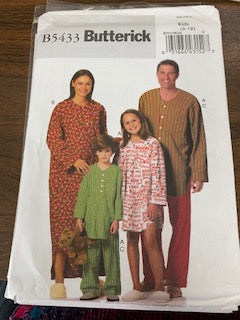 Butterick Pattern B5433 Pajamas children sizes 3-12