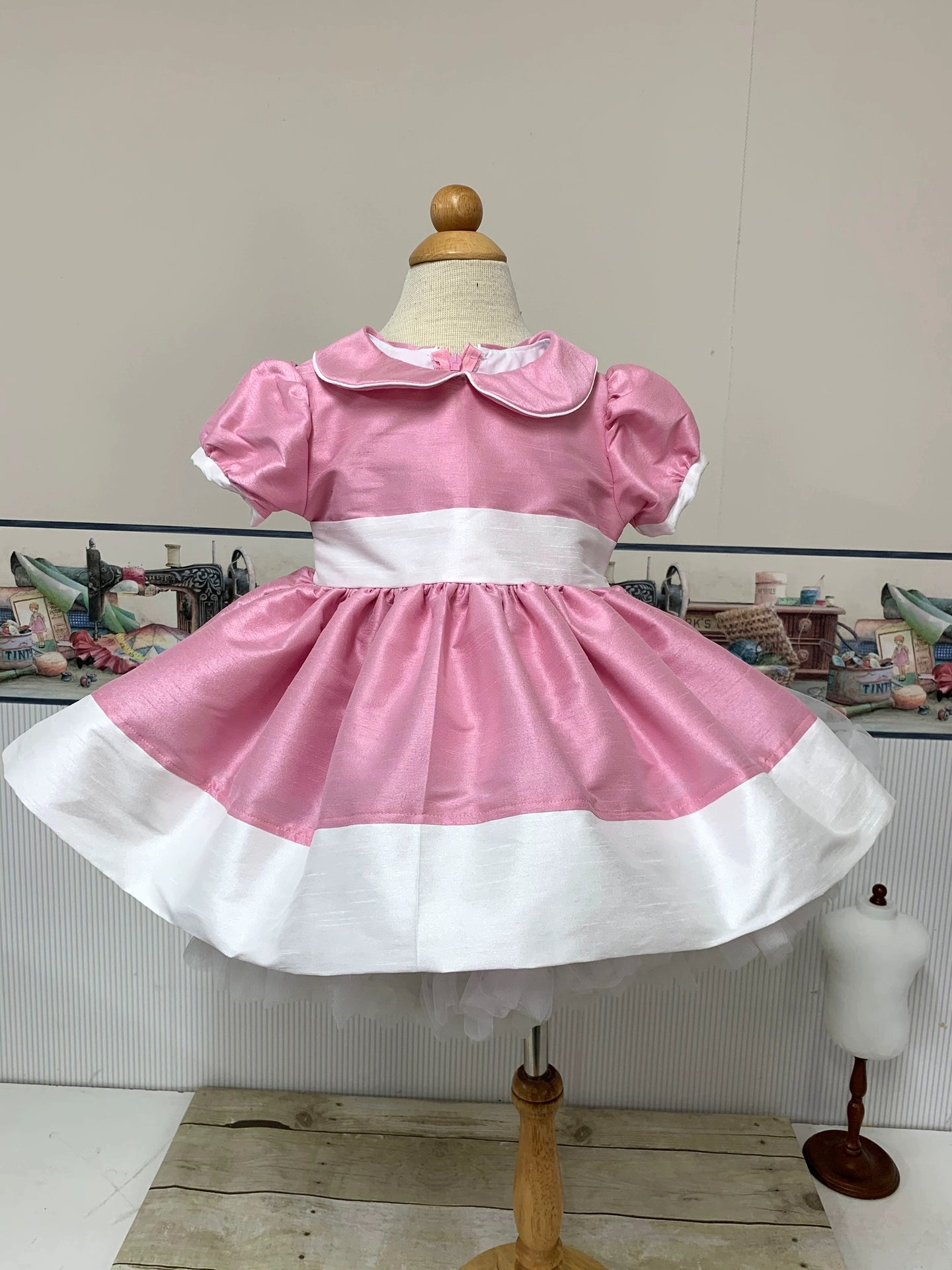 Beauty - Sunday Best - Poly Silk Dupioni  Mauve Pink  - Wedding Flower Girl - Easter - Tea Party Dress - Birthday Party Dress - Princess