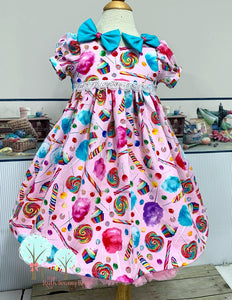 RTS size 2t/3t  Cotton Candy Dress, Candy Birthday, Girls Lollipop Dress, Girls Retro Dress, Pageant Twirl Dress,