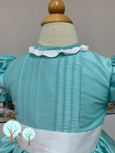 Beauty - Sunday Best - Poly Silk Dupioni Aqua Marine Pintucks - Wedding Flower Girl - Easter - Tea Party Dress - Birthday Party Dress - Princess - Ruth Sewing Room