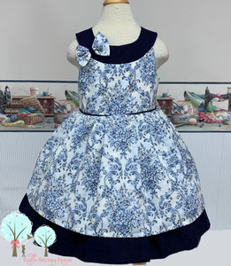 Daisy - Damask Fabric Round Yoke Dress  - Pageant Dress   - Cruise Vacation Dress  ~ Birthday Party