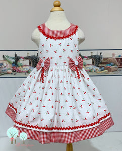 Daisy -  Cherry Fabric Round Yoke Dress  - Pageant Dress   - Cruise Vacation Dress ~ Birthday Party
