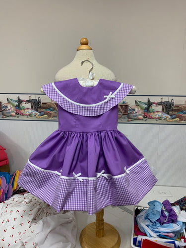 Reserved listing for Carle Noa --purple gingham fabric dress size 4
