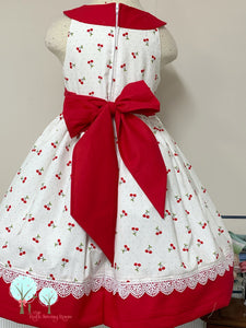 RTS size 4/5 Cherry Fabric Round Yoke Dress  - Pageant Dress   - Cruise Vacation Dress ~ Birthday Party
