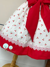 Cherry Fabric Round Yoke Dress  - Pageant Dress   - Cruise Vacation Dress ~ Birthday Party
