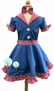 RTS size 3/4 Retro 50's  –Denim and Red gingham  Dress