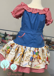 Western Wear OCC RTS size 3/4 Retro 50's  –Denim and Red gingham  Dress