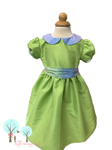 Beauty - Sunday Best - Poly Silk Dupioni Green Apple - Wedding Flower Girl - Easter - Tea Party Dress - Birthday Party Dress - Princess