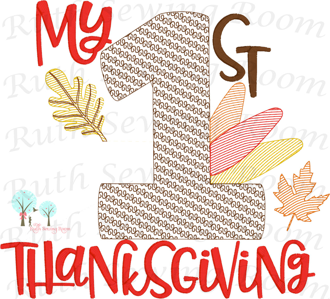My First Thanksgiving Vintage Stitch -   Embroidery Design Instant Download Machine Embroidery