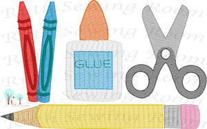 Back to School -- School Supplies -- Vintage Stitch Design Instant download Machine Embroidery - This is NOT its a PATCH