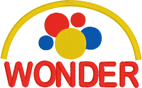 Wonder Logo  Embroidery Design Instant download Machine Embroidery - This is NOT a PATCH!