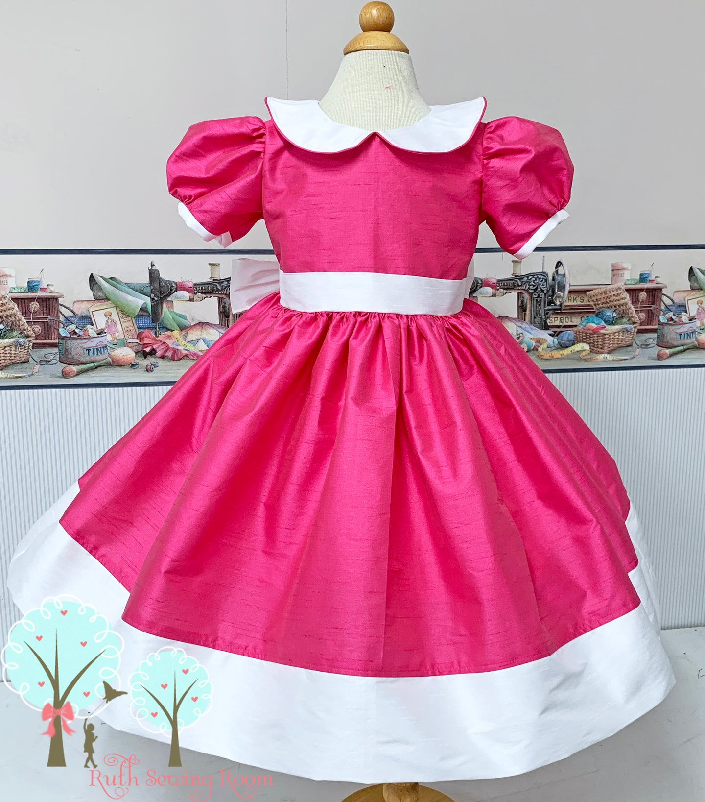 Sunday Best - Party Wear American Beauty Silk DUPIONI, Wedding Flower Girl Silk Christmas Party Dress, Birthday, Celebration, Recital, Girls, Other Colors Available