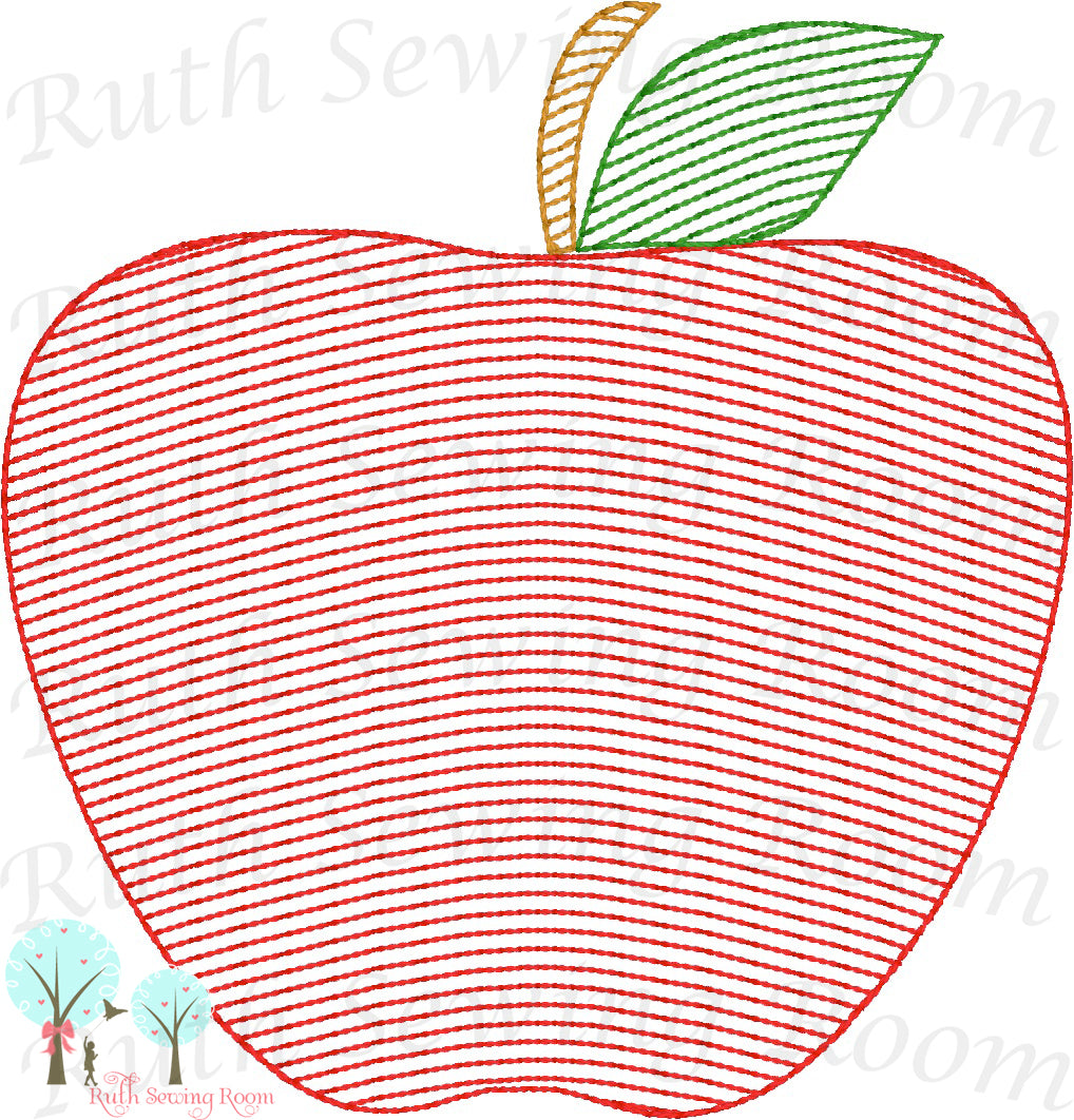 Apple Vintage Stitch  - Design Instant Download Machine Embroidery - This is NOT a PATCH!