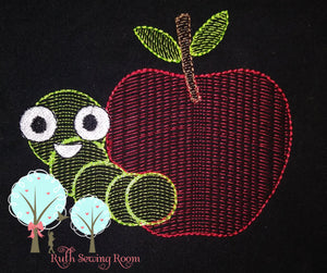 Vintage Stitch  Apples with Worm - Design Instant Download Machine Embroidery - This is NOT a PATCH!