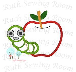 Applique Apples with Worm - Design Instant Download Machine Embroidery - This is NOT a PATCH!