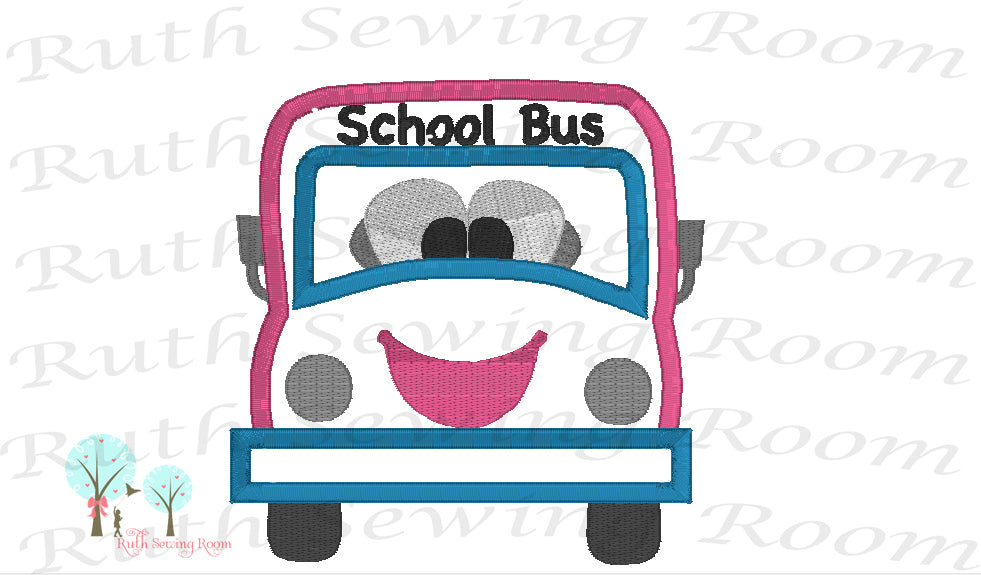 School Bus Applique   -  School Bus  -  Applique Embroidery Design Instant download Machine Embroidery - This is NOT a PATCH!