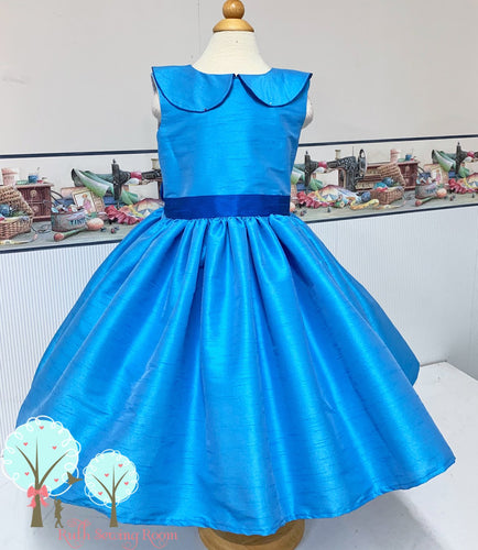 custom listing for Anastasia kostecki Interview Dress OOC Tropic Blue  Silk DUPIONI,