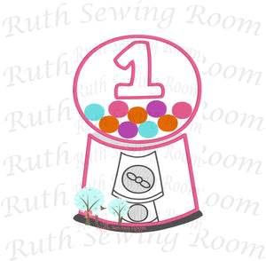 Bubble-Gum Machine Birthday # 1 -- Appliques Embroidery Design -- Digitize File ---