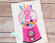 Bubble-Gum Machine Birthday # 2 -- Appliques Embroidery Design -- Digitize File ---