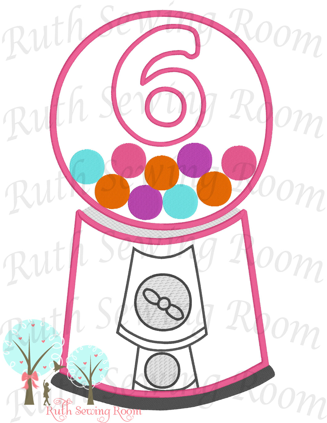 Bubble-Gum Machine Birthday # 6 -- Appliques Embroidery Design -- Digitize File