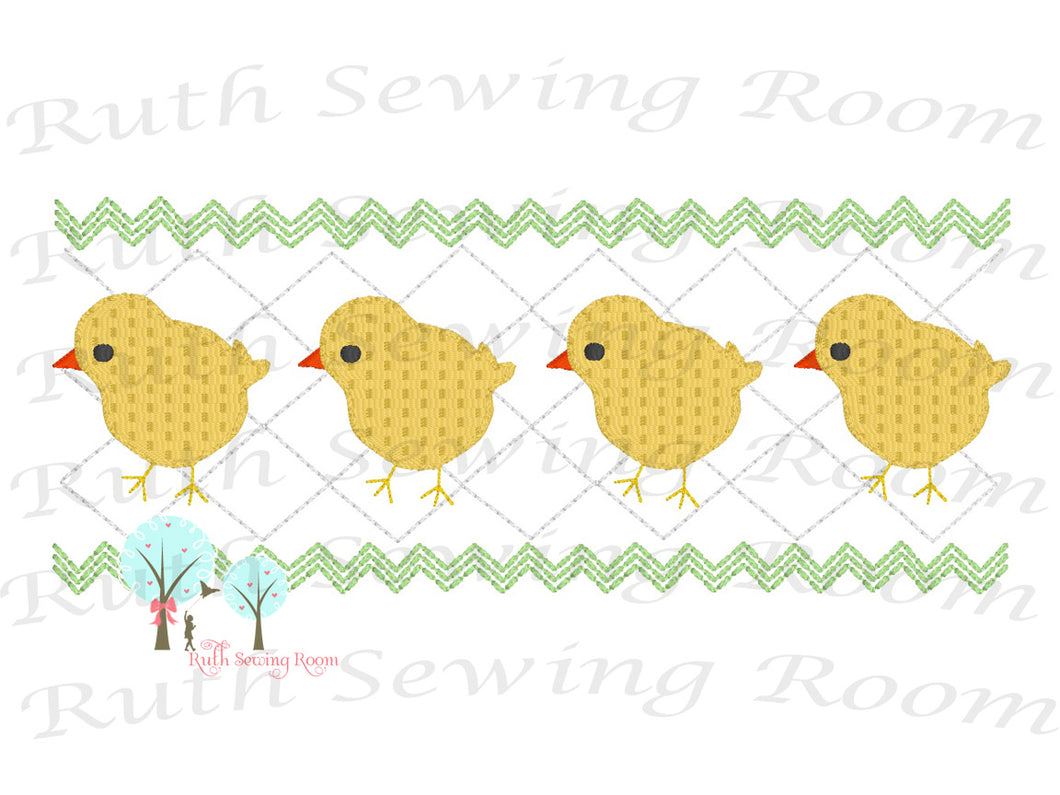 Faux Smocking Stitch Chicks Smocking Embroidery Design