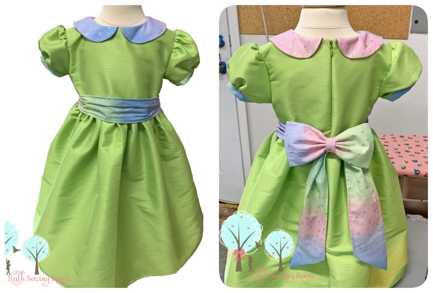 Beauty - Sunday Best - Poly Silk Dupioni  Apple Green  - Wedding Flower Girl - Easter - Tea Party Dress - Ready To Ship size 18m/24m