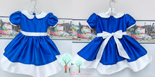 Party Wear  Silk DUPIONI  Flower Girl Sapphire Color with White