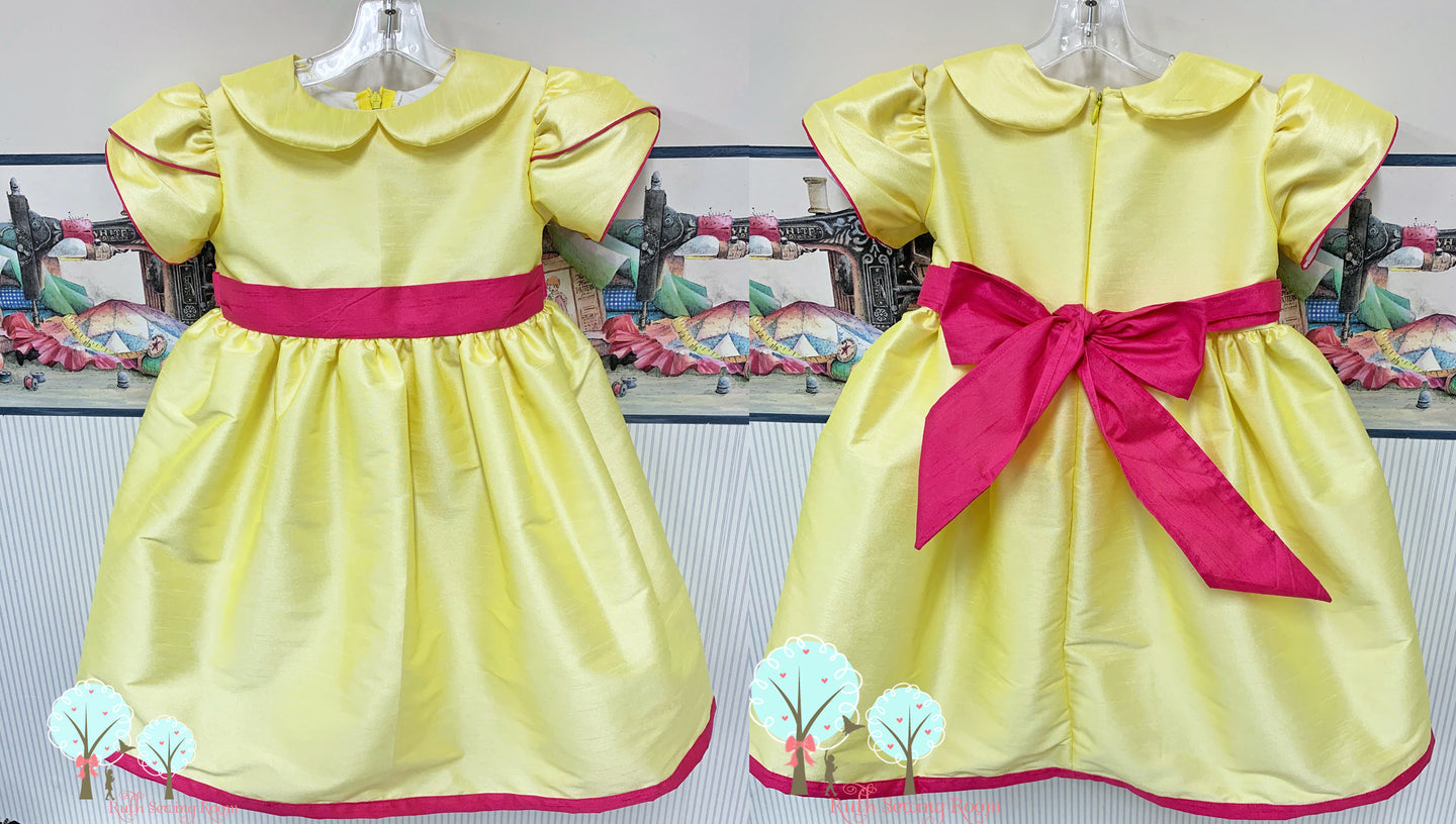 Party Wear, OOC, Lemon - Silk DUPIONI, Wedding Flower Girl Silk Christmas Party Dress, Birthday, Celebration, Recital, Girls, Other Colors Available