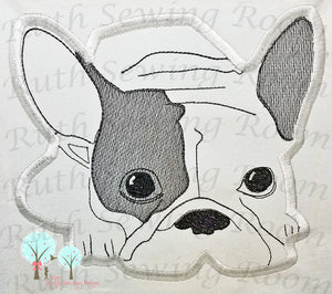 FRENCH BULLDOG APPLIQUE - MACHINE EMBROIDERY - RUTH SEWING ROOM