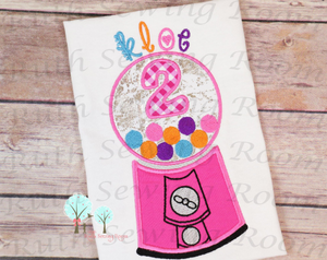 Bubble-Gum Machine Birthday # 4 -- Appliques Embroidery Design