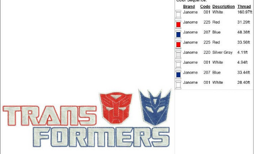 Transformers Logo Applique Embroidery Design This is NOT A PATCH