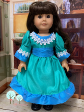 "Southern Bell in Jade and Tropic Blue  Poly Silk DUPIONI, 18"" American Girl Dress"