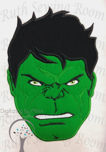 Incredible Hulk-  Face and Logo Set  Applique, Avenger Applique Embroidery Design This is NOT A PATCH