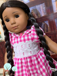 Pink Gingham Spring - Tea Party Dress   - Fits American Girl Doll Journey Girl -Our Generation -  My Life-  Girls of Faith Dolls