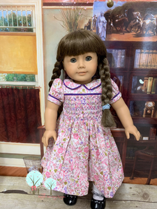 Pink Smocked Calico Dress w Purple Piping Trim - Fits American Girl Doll Journey Girl -Our Generation -  My Life-  Girls of Faith Dolls