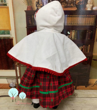 Red Plaid Christmas  Dress And White Minky Caplet - Fits American Girl Doll Journey Girl -Our Generation -  My Life-  Girls of Faith Dolls