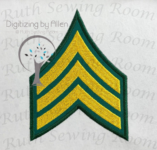 Army Sergeant rank machine applique - Army Sergeant Rank Logo Applique