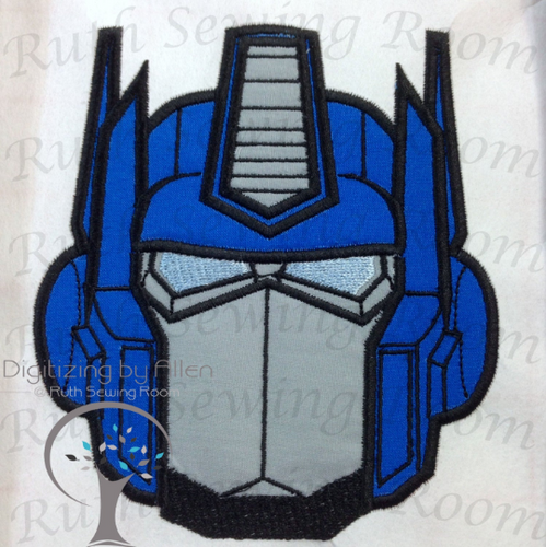 Transformers Optimus Prime Face Applique, Embroidery Design includes free embroidery NOT A PATCH