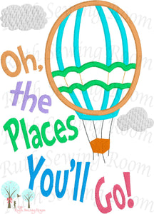 Story Book Balloon  Oh, the Places You'll -  Appliques Embroidery Design -- Digitize File ---