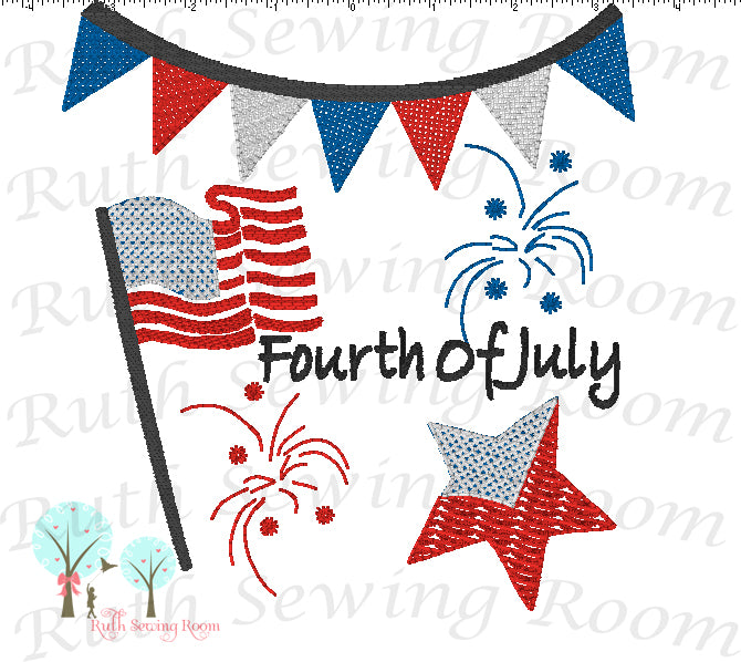 Fourth of July - Flag and Stars -  Vintage Stitch -  Embroidery Design Instant Download Machine Embroidery