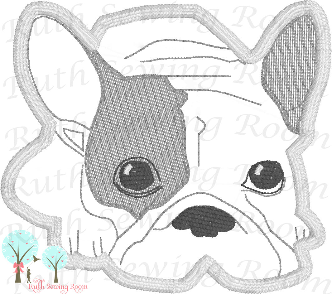 FRENCH BULLDOG APPLIQUE - MACHINE EMBROIDERY