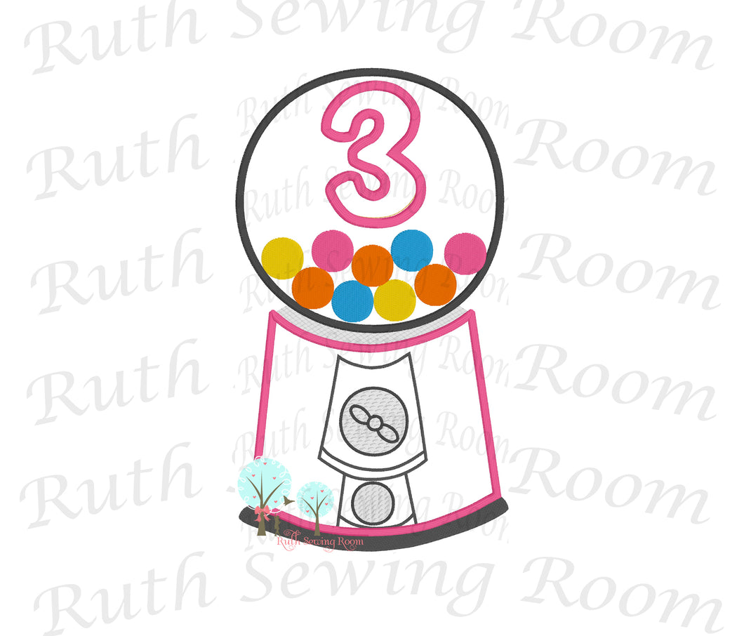 Bubble-Gum Machine Birthday # 3 -- Appliques Embroidery Design -- Digitize File ---