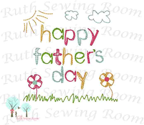 Vintage Stitch Happy Father's Day, Embroidery Design