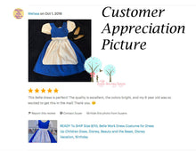Belle Work Dress  - Costume for Dress Up - Disney Princess - School Play Costume - Birthday Party - Blue Work Dress with Apron