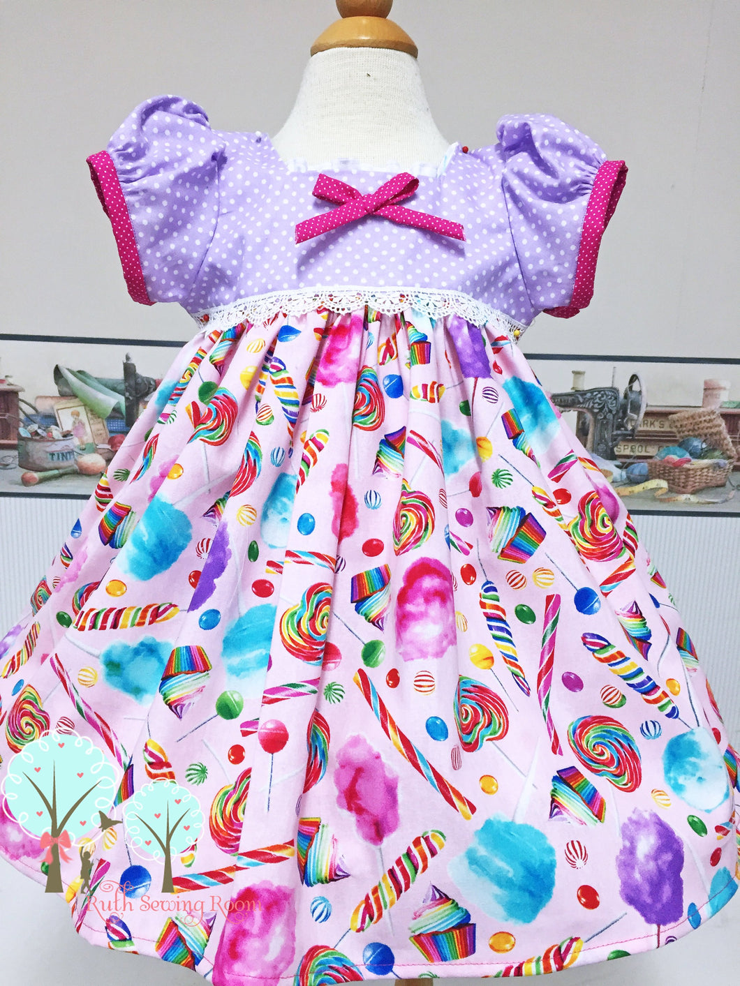 Cotton Candy Dress, Candy Birthday, Girls Lollipop Dress, Girls Retro Dress, Pageant Wear, Girls Spring Dress, Twirl Dress, Summer, OTT