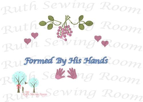 Formed By His Hands, Embroidery, Christian Embroidery, Princess of the King, Baby Gift, Baptism Gift, Dedication Gift -- Digitize File ---